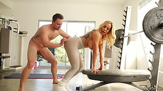 Big tittied milf Olivia Austin takes a dick in her pussy at the gym