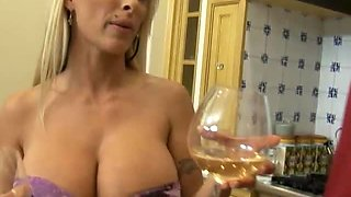 Busty Blonde MILF Deepthroat and Facial in Kitchen!