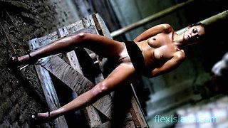 Skinny BDSM pornstar Katy Rose posing before punishment