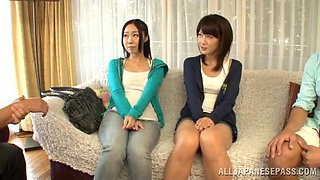 Naughty japanese av models in a hot and naughty fuck foursome