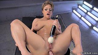 Huge tits milf gets machine up her ass