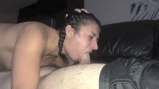 Deep throat gagging facial abuse