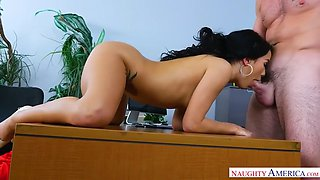 megan rain gets punished with a dick by her boss for leaving panties in office