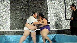 Fat wrestling plumper takes on ssbbw for cock