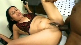 Big black dick meets Indian hairy tight pussy on the couch