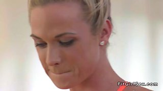 yoga trainer bangs slim blonde hottie