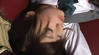 Kinky teen Asian babe in school uniform ed and drenched with cum on face!