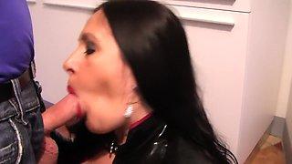 Latex Slut in the Kitchen - Latex Blowjob Handjob - Cum on my Tits
