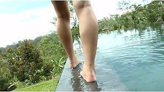 Stunning Asian sweetie Megumi Maoka swims in the pool