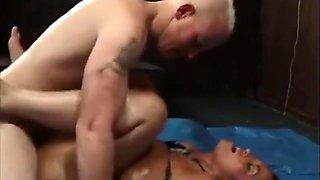 Sex wrestling in oil - Milf VS Lucky guy