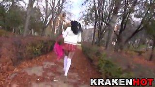 Krakenhot Voyeur video Young provocative schoolgirl outdoor