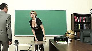 Julia Ann has fun with new teacher in the classroom