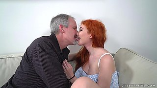 Redhead Gisha Forza gets her small cunt pounded on the couch