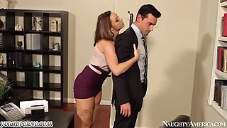 Sexy secretary fucks her boss while working