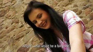 Pretty amateur black haired girl payed for anal sex in