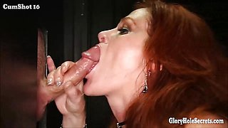 Different gloryhole girls with a mouthful of cum