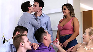Angel Wicky gets invited to a Bi Orgy