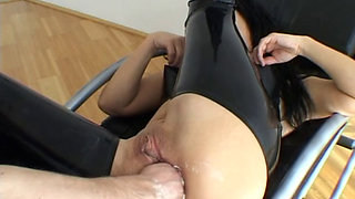 Latex angel Angelica anal fucked