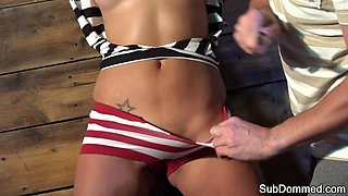 Submissive euro getting flogged and groped