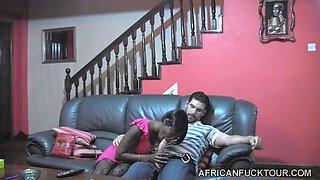 African Slut Sucks Off Her Boyfriend
