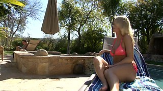 Outdoors sex by the pool with the sexy Emily Austin