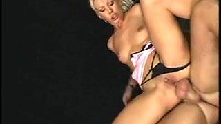 Smoking hot blonde in an ass gaping DP threesome