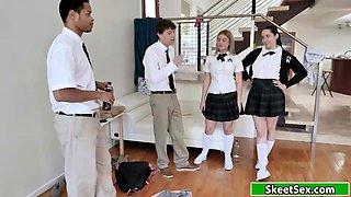 Teen babe cuts school to get fucked