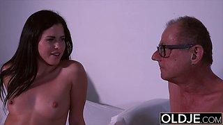 Hot Innocent Teen Gives Grandpa Rimjob Rides His Cock