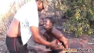 busty african babe gets bonded and abused outdoors