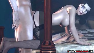 Big ass and big tits 3D MILF gets missionary session