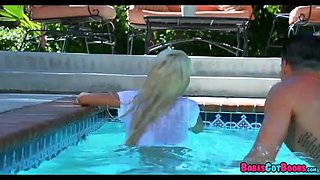 Fucking with Blonde Babe at the pool