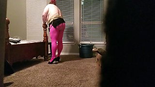 Bbw in ripped pink hose 3