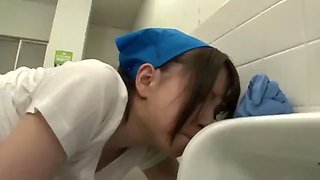 japanese cleaning slut get fucked on the toilet restroom