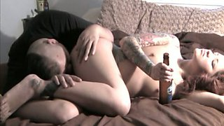 My tattooed nympho drinks beer while I eat her delicious asshole