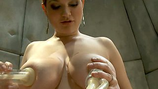 Busty Blonde Having Fun with a Bunch of Fucking Machines