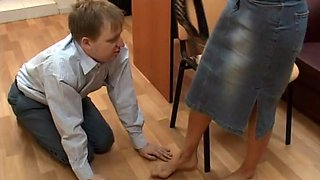 Kinky office affair with a redhead who loves having her feet licked
