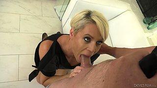 Helena Locke fucks a hot fellow in front of a cuckold slave