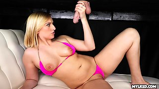 Blonde babe Kate England loves to handjob and blowjob. But