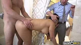 whorish wife rose monroe manages to satisfy her husband and other guy
