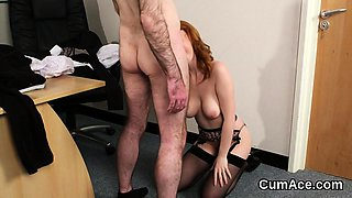 Nasty honey gets jizz load on her face swallowing all the ch