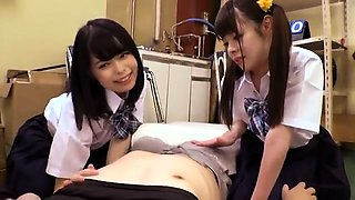 Horny Japanese schoolgirls satisfying their hunger for cock