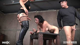 Syren De Mer with a strap on and a kinky guy abuse Olive Glass