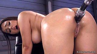 Busty beauty anal fucks machine