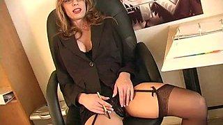 Shelley always wears stockings and always feels so horny!