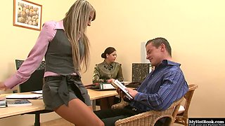 Christina Lee and Gioia Biel get bored in the office.
