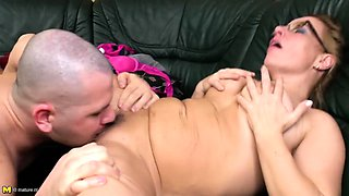 glasses mature wife fully fucking with a young stranger guy