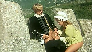 Horny lord catches and gropes hot blonde lady in his castle