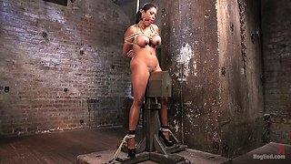 Bondage black hottie Maxine X is punished with the help of long stick