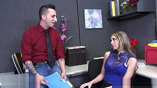 Shawna Lenee deepthroats a dick on her desk in the office - Naughty America