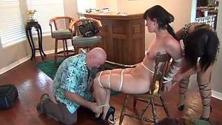 Lots of kinky bdsm stimulation for the roped up slave